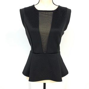 Forever 21 Black Fit & Flare Top with Sheer Panel